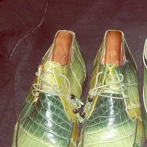 Men Green Alligator Shoes by Mauri